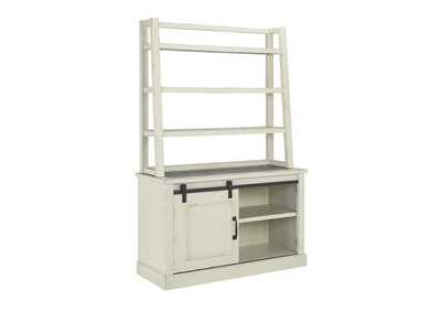 Jonileene White/Gray Home Office Cabinet w/Hutch
