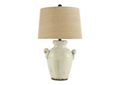 Emelda Cream Ceramic Table Lamp