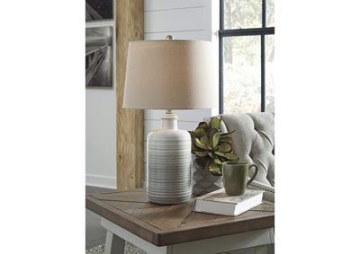 Marnina Taupe Ceramic Table Lamp (Set of 2),Signature Design By Ashley