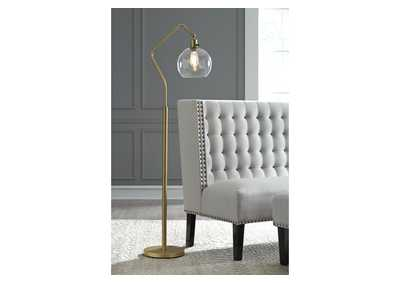 Marilee Antique Brass Finish Metal Floor Lamp,Signature Design By Ashley
