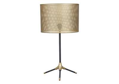 Mance Gray/Brass Finish Metal Table Lamp (1/CN),Signature Design By Ashley