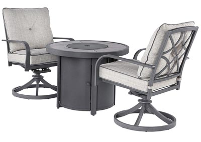 Image for Donnalee Bay Gray Fire Pit Table w/2 Swivel Chairs