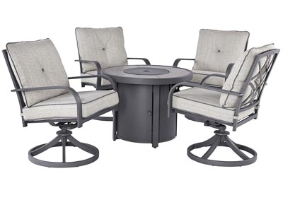 Image for Donnalee Bay Gray Fire Pit Table w/4 Swivel Chairs
