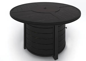 Castle Island Dark Brown Round Fire Pit Table,Outdoor By Ashley