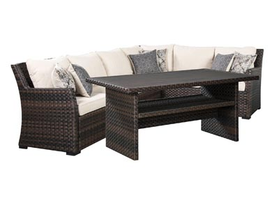 Image for Easy Isle Dark Brown/Beige Multi-Use Table w/Sectional and Lounge Chair