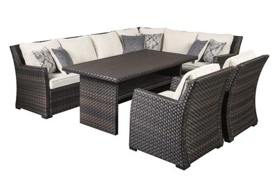 Image for Easy Isle Dark Brown/Beige Multi-Use Table w/Sectional and 2 Lounge Chair