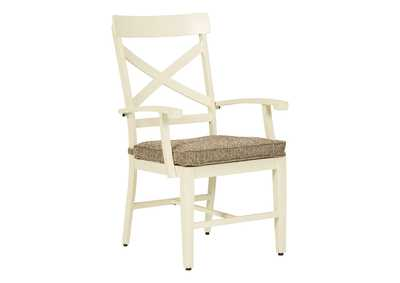 Image for Preston Bay Antique White Arm Chair with Cushion (Set of 2)