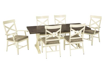 Image for Preston Bay Antique White Dining Table w/4 Chair, 2 Arm Chair and Umbrella Option