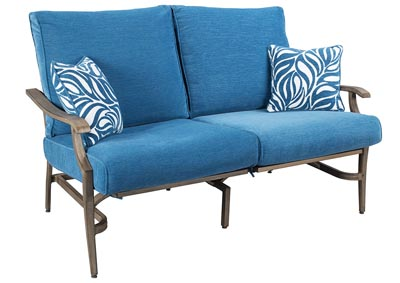 Image for Partanna Blue/Beige Motion Loveseat