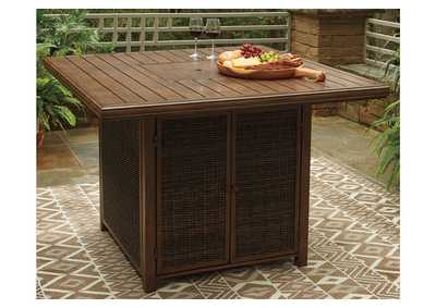 Paradise Trail Brown Bar Table w/Fire Pit