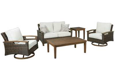 Paradise Trail Brown Loveseat w/Cushion,Outdoor By Ashley