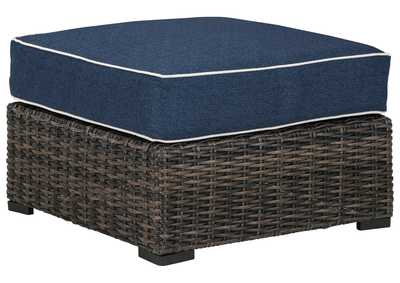 Image for Grasson Lane Brown/Blue Ottoman with Cushion