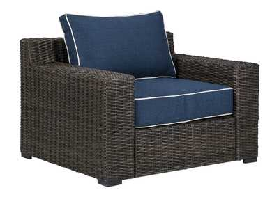 Image for Grasson Lane Brown/Blue Lounge Chair with Cushion