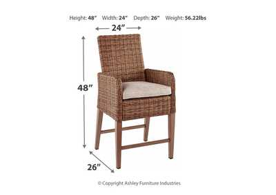 Beachcroft Beige Bar Stool w/Cushion (Set of 2),Outdoor By Ashley
