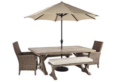 Beachcroft Beige Dining Table w/2 Armed Chairs & 2 Benches,Outdoor By Ashley
