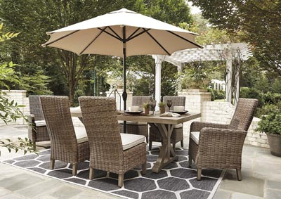 Beachcroft Beige Dining Table w/4 Side Chairs & 2 Armed Chairs,Outdoor By Ashley