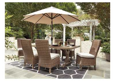 Beachcroft Beige Dining Table w/6 Side Chairs,Outdoor By Ashley