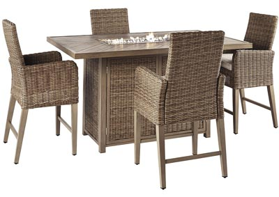 Beachcroft Beige Fire Pit Table w/4 Counter Height Chairs,Outdoor By Ashley