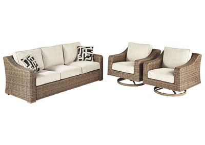 Beachcroft Beige Sofa w/2 Swivel Chairs