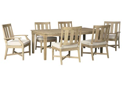 Clare View Beige Dining Table w/4 Side Chairs & 2 Arm Chairs