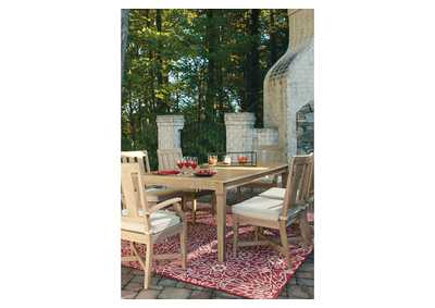 Clare View Beige Dining Table w/Umbrella Option,Outdoor By Ashley