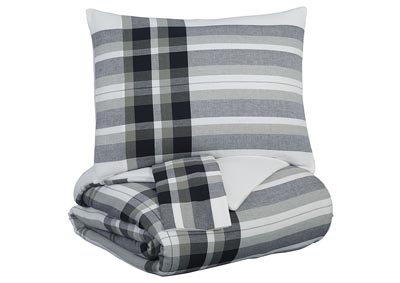 Stayner Black/Gray King Coverlet Set