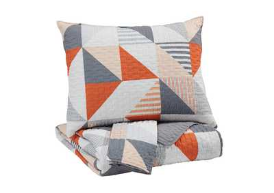 Image for Layne Gray/Orange Full Coverlet Set