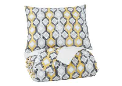 Image for Mato Gray/Yellow/White 3-Piece Queen Comforter Set