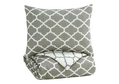 Media Gray/White Twin Comforter Set