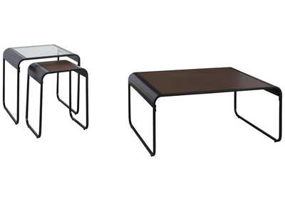 Image for Larzeny Brown/Black Table (Set of 3)