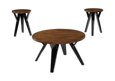 Ingel Two-Tone Brown Occasional Table Set (Cocktail & 2 Ends)