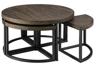 Image for Johurst Grayish Brown/Black Coffee Table w/4 Stool (Set of 5)