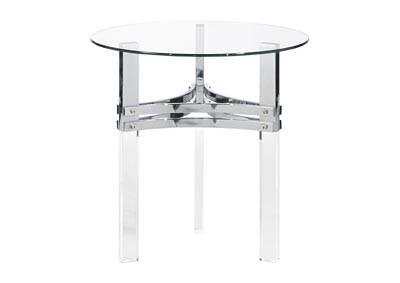 Braddoni Chrome Round End Table