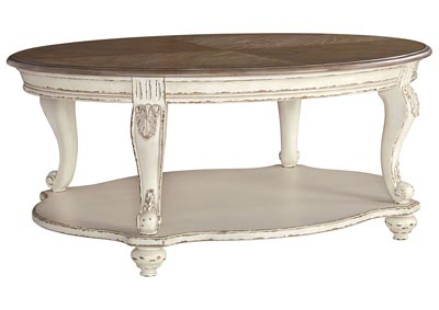 Realyn White/Brown Oval Cocktail Table,Signature Design By Ashley