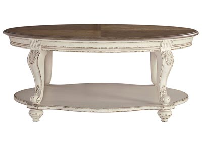 Image for Realyn White/Brown Oval Cocktail Table