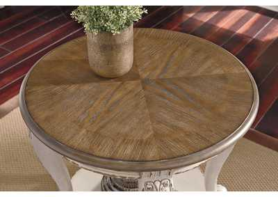 Realyn White/Brown Round End Table,Signature Design By Ashley