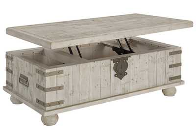Carynhurst White Wash Gray Lift Top Cocktail Table,Direct To Consumer Express