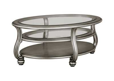 Coralayne Silver Finish Oval Cocktail Table