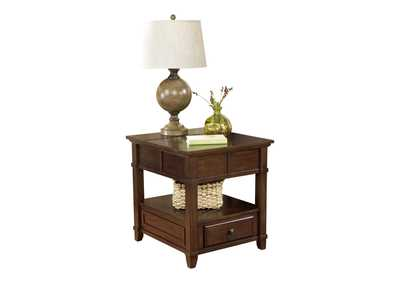 Gately Brown End Table with Storage & Power Outlets
