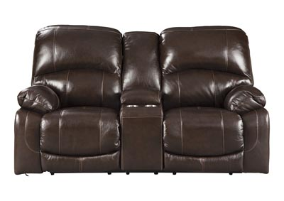Hallstrung Chocolate Power Reclining Loveseat w/Adjustable Headrest & Console,Signature Design By Ashley