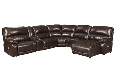 Hallstrung Chocolate Reclining Sectional w/Console