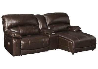 Hallstrung Chocolate RAF Chaise Reclining Sectional w/Console,Signature Design By Ashley