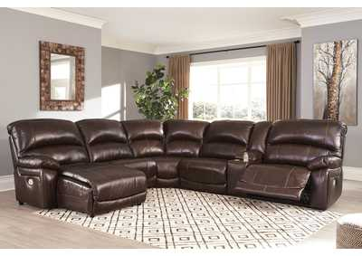 Hallstrung Chocolate LAF Chaise Reclining Sectional,Signature Design By Ashley