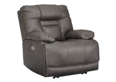 Image for Wurstrow Smoke Power Recliner w/Adjustable Headrest