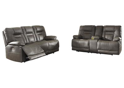 Image for Wurstrow Smoke Power Reclining Sofa & Loveseat w/Adjustable Headrest