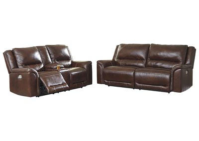 Image for Catanzaro Mahogany Power Reclining Sofa & Loveseat w/Adjustable Headrest