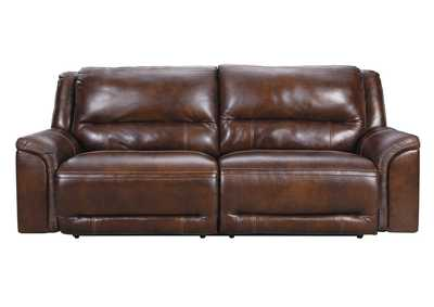 Image for Catanzaro Mahogany 2 Seat Power Reclining Sofa w/Adjustable Headrest