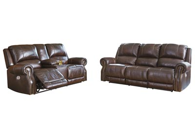 Image for Buncrana Chocolate Power Reclining Sofa & Loveseat w/Adjustable Headrest