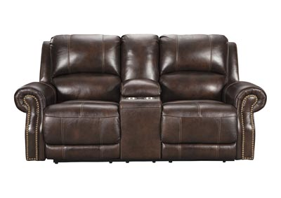 Image for Buncrana Chocolate Power Reclining Loveseat w/Adjustable Headrest