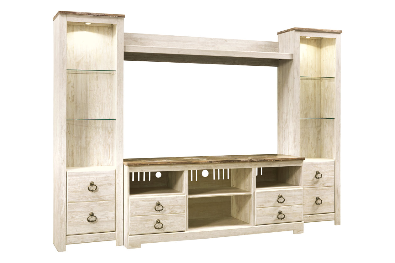 Willowton Whitewash Entertainment Center